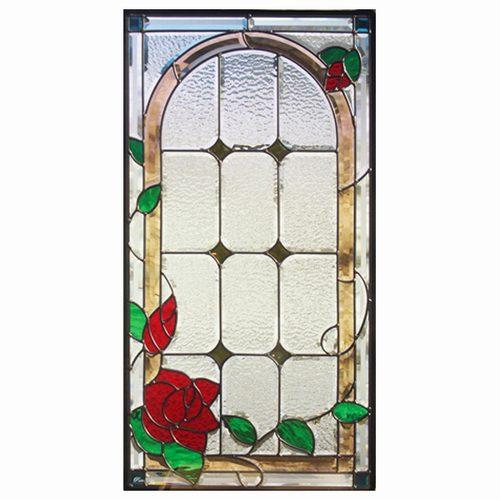 【送料無料】ステンドグラス (SH-A16) 一部鏡面ガラス 913×480×18mm デザイン 薔薇 ローズ ピュアグラス Aサイズ (約13kg) ※代引不可