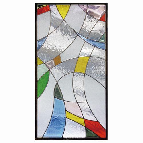 【送料無料】ステンドグラス (SH-A12) 一部鏡面ガラス 913×480×18mm デザイン ピュアグラス Aサイズ (約13kg) ※代引不可
