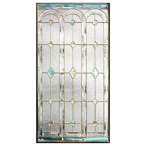 【送料無料】ステンドグラス (SH-A06) 913×480×18mm デザイン 窓 アーチ ピュアグラス Aサイズ (約13kg) メーカー在庫限り ※代引不可