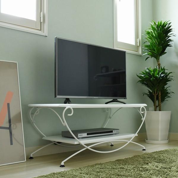 【送料無料】テレビ台 幅90 テレビボード ホワイト (IRI-0050-WH) ロートアイアンシリーズ