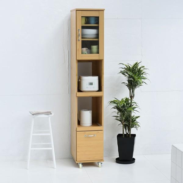 【送料無料】隙間収納 幅32.5 H180 ナチュラル (FLL-0068-NA) すき間 食器棚 スリム キッチンラック Lycka Land