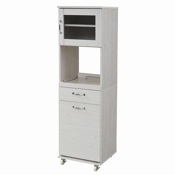 【送料無料】【代引不可】 レンジ台 幅45 H154.5 ダストボックス付 ホワイト (FLL-0070-WH) ゴミ箱 分別 キッチン 収納 Lycka Land