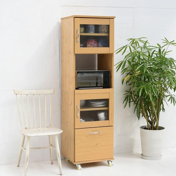 【送料無料】【代引不可】 レンジ台 幅45 H154.5 ナチュラル (FLL-0066-NA) キッチン 収納 食器棚 スライド Lycka Land