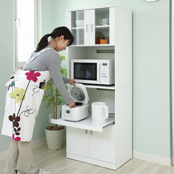 【限定クーポン発行中】 レンジ台 レンジボード 幅59.5 高さ160 『SIM』シリーズ (FAP-0016-WH) キッチン収納 食器棚