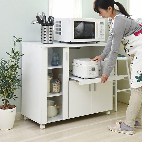 【送料無料】キッチンカウンター 幅90 高さ80 SIMシリーズ (FAP-0017-WH) レンジ台 食器棚 キッチン収納