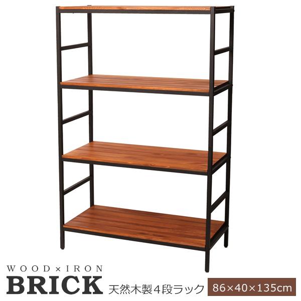 【送料無料】収納 ラック オープン 木製 幅86 ブリックラックシリーズ4段タイプ 86×40×135 BRICK (PRU-8640135)