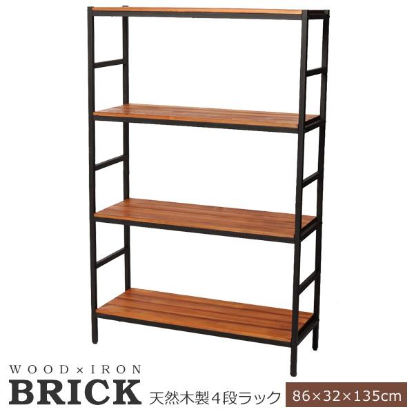【送料無料】収納 ラック オープン 木製 幅86 ブリックラックシリーズ4段タイプ 86×32×135 BRICK (PRU-8632135)