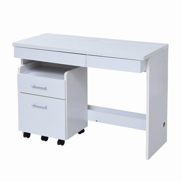 デスク チェスト 2点セット 幅100 ホワイト (SGT-0125-WH) 机 すっきり配線収納デスク 白