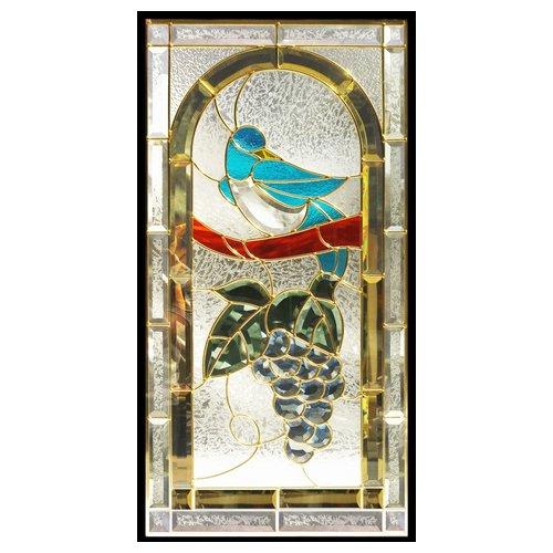 【送料無料】ステンドグラス (SH-A42) 一部鏡面ガラス 913×480×18mm 鳥 葡萄 ブドウ ピュアグラス Aサイズ (約13kg) ※代引不可