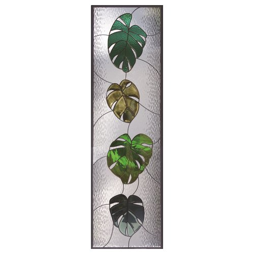 ステンドグラス (SH-B21) 一部鏡面ガラス 1625×480×20mm 植物 モンステラ ピュアグラス Bサイズ (約24kg) ※代引不可