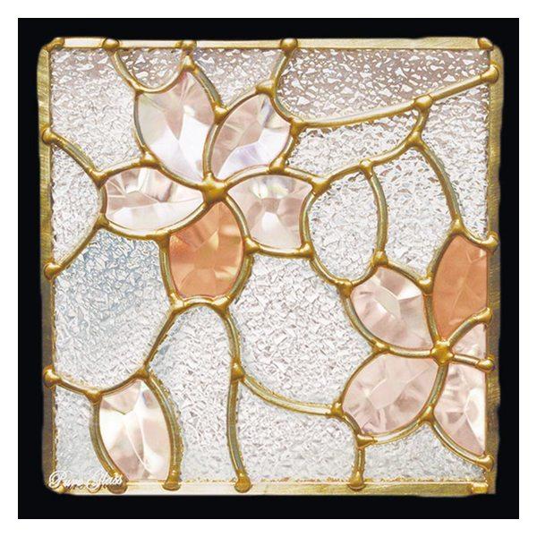ステンドグラス (SH-D26) 一部鏡面ガラス 200×200×18mm デザイン 桜 ピュアグラス Dサイズ (約1kg) ※代引不可