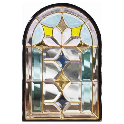 【送料無料】ステンドグラス (SH-K06N) 一部鏡面ガラス 495×330×18mm デザイン 窓型 アーチ ピュアグラス Kサイズ (約5kg) ※代引不可