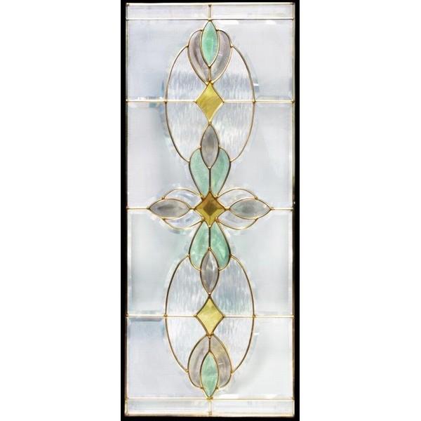 【送料無料】ステンドグラス (SH-K01N) 913×400×18mm デザイン ピュアグラス Kサイズ (約11kg) 一部鏡面ガラス ※代引不可