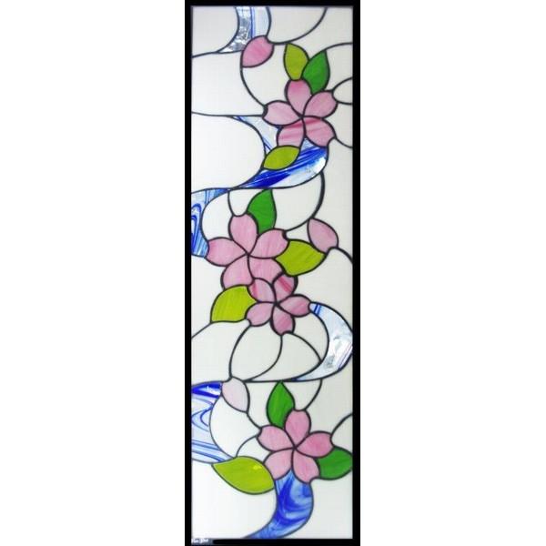 【送料無料】ステンドグラス (SH-L05) 927×289×18mm デザイン ピュアステンド 桜 (約8kg) ※代引不可