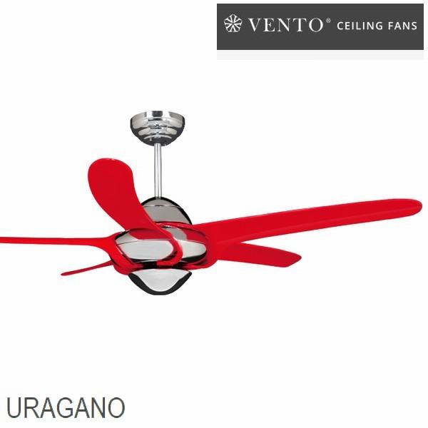 【送料無料】シーリングファン VENTO ウラガノ レッド [VF-UG54CH-RE] リモコン付 照明なし ※4~7坪用