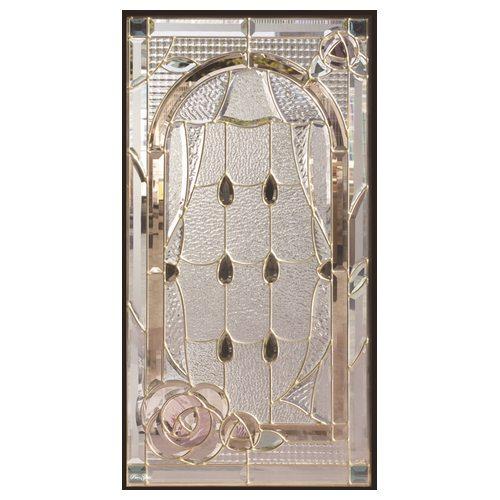 【送料無料】ステンドグラス (SH-A44) 一部鏡面ガラス 913×480×18mm デザイン 窓 アーチ 花 ピュアグラス Aサイズ (約13kg) ※代引不可