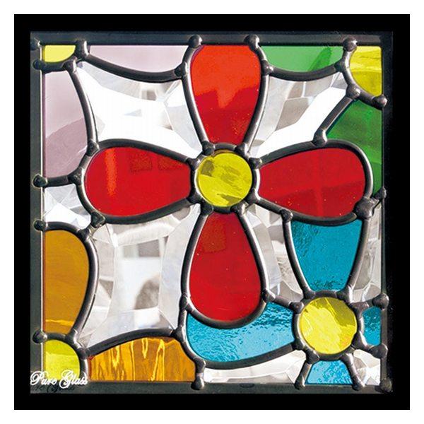 ステンドグラス (SH-D33) 200×200×18mm デザイン 花 ピュアグラス Dサイズ (約1kg) ※代引不可