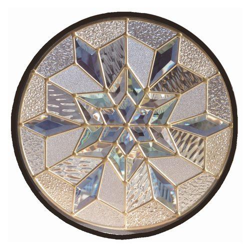 【送料無料】ステンドグラス (SH-K13) 400×400×18mm 円形 デザイン 雪 結晶 幾何学 ピュアグラス Kサイズ (約4kg) ※代引不可
