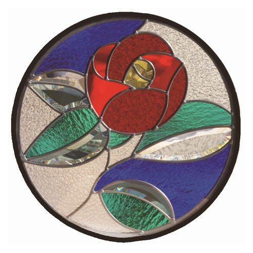 【送料無料】ステンドグラス 一部鏡面ガラス (SH-K14) 400×400×18mm 円形 花 椿 和柄 ピュアグラス Kサイズ (約4kg) ※代引不可