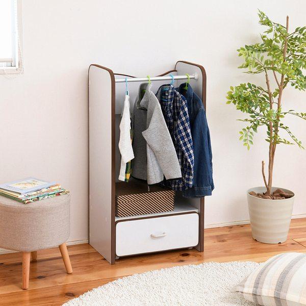 キッズハンガー 子供 衣類 収納 ホワイト/ブラウン (FES-0004-WHBR) ハンガーラック