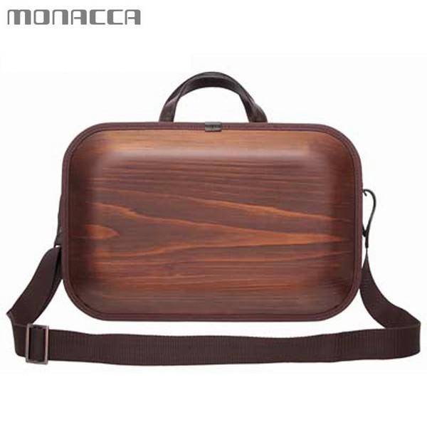 木のバッグ モナッカ monacca kaku-ss (ブラウン/ブラウンエッジ) 木製 カバン ショルダー 日本製 ※北海道・沖縄・離島+1030円