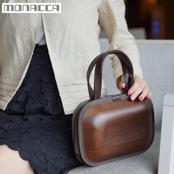 木のバッグ モナッカ monacca kaku-shou (ブラウン/ブラウンエッジ) 日本製 ※北海道・沖縄・離島も送料無料