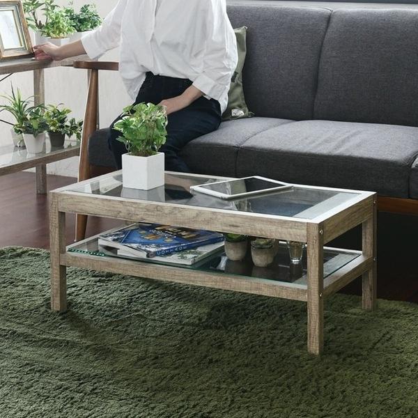 リビングテーブル ガラステーブル 木目調 古木調 シャビー (FAW-0004-NA)