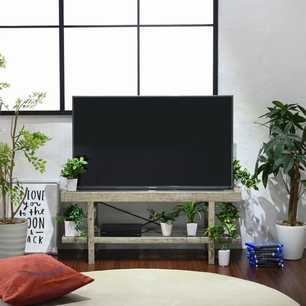 【送料無料】【代引不可】 テレビボード 幅100 ガラス 木目調 古木調 シャビー (FAW-0006-NA)