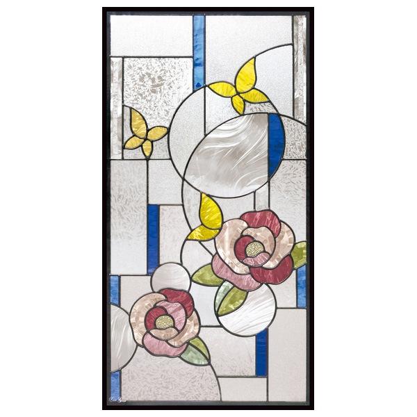 ステンドグラス (SH-A48) 913×480×18mm 一部鏡面ガラス 牡丹 花 ピュアグラス Aサイズ (約13kg) ※代引不可