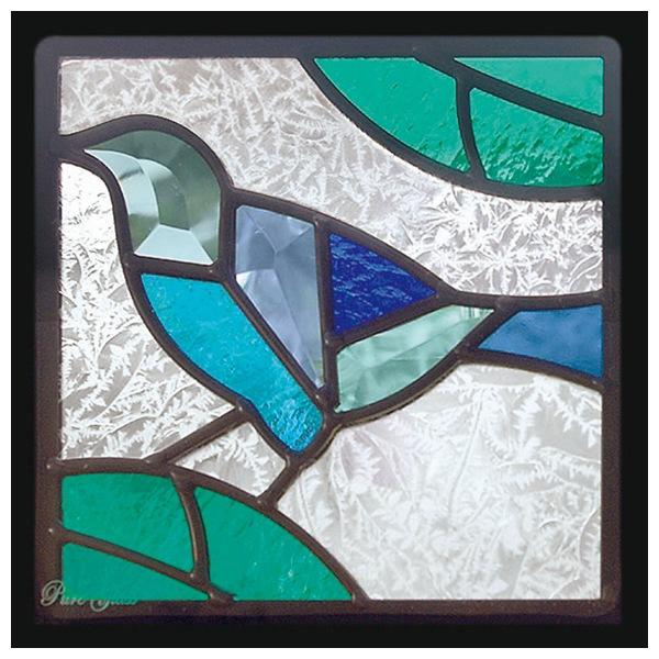 ステンドグラス ステンドガラス エクステリア インテリア 庭 窓 代引不可 送料無料 SH-D39 デザイン Dサイズ 小鳥 200×200×18mm ※代引不可 ピュアグラス 一部鏡面ガラス 限定モデル 約2kg 定番