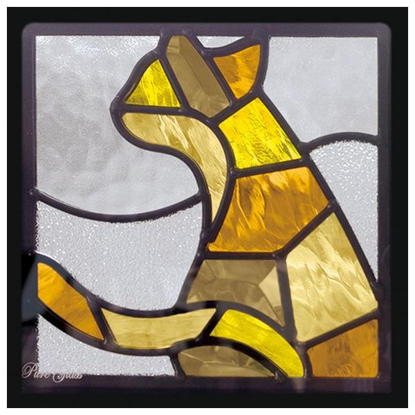 ステンドグラス ステンドガラス 激安セール エクステリア WEB限定 インテリア 庭 窓 代引不可 送料無料 SH-D41 Dサイズ 約2kg ※代引不可 一部鏡面ガラス 200×200×18mm 猫 ピュアグラス デザイン