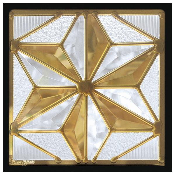ステンドグラス (SH-D42) 200×200×18mm 一部鏡面ガラス 七宝柄 デザイン ピュアグラス Dサイズ (約2kg) ※代引不可