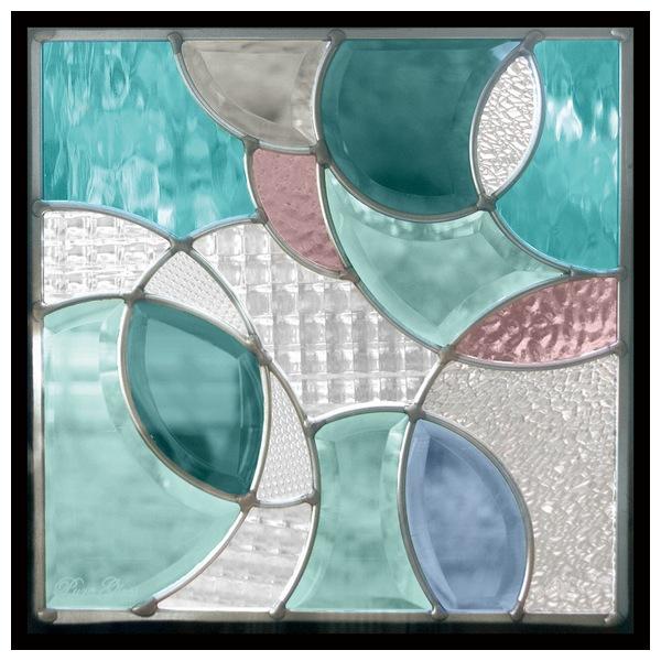 ステンドグラス (SH-E17) 300×300×18mm 一部鏡面ガラス デザイン ピュアグラス (約3kg) ※代引不可