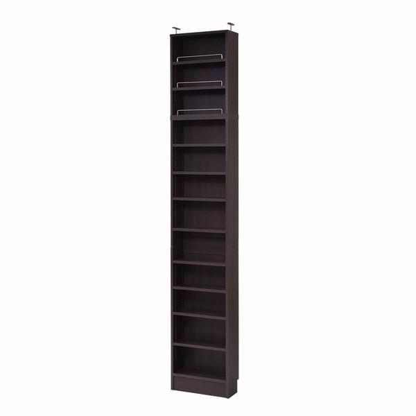 【送料無料】書棚 本棚 薄型オープン 幅41.5 上置きセット ダークブラウン (FRM-0100SET-DB) MEMORIA