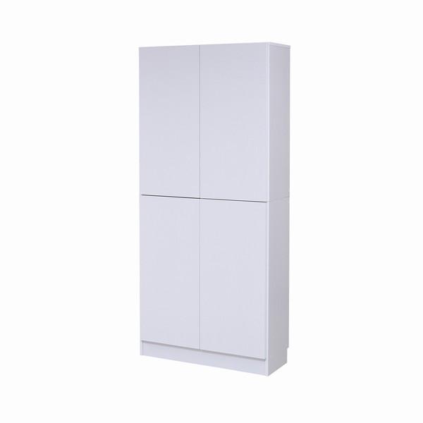 【送料無料】書棚 本棚 『MEMORIA』 深型扉付 幅81 ホワイト (FRM-0107DOOR-WH)