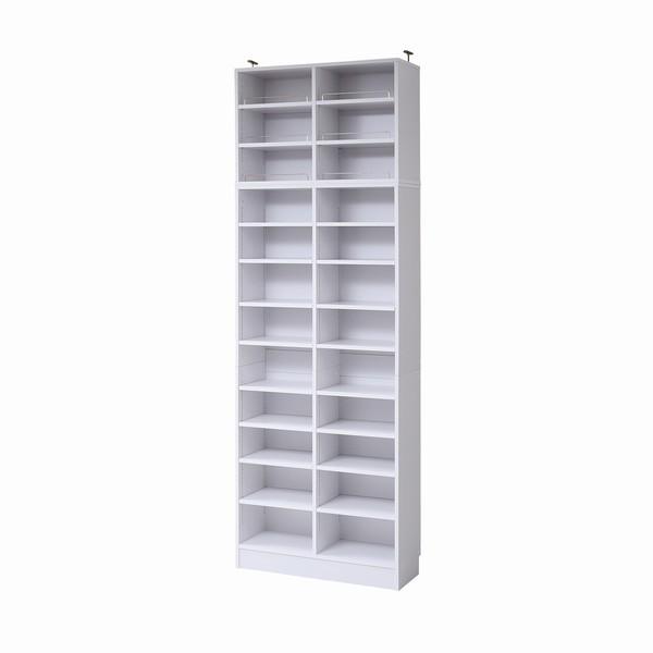 【送料無料】書棚 本棚 『MEMORIA』 深型オープン 幅81 上置きセット ホワイト (FRM-0107SET-WH)