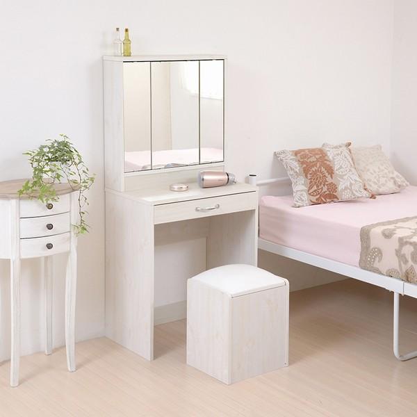【送料無料】ドレッサー 鏡 三面鏡 スツール付き ホワイト (FLL-0061-WH) 3面鏡 収納 メイク