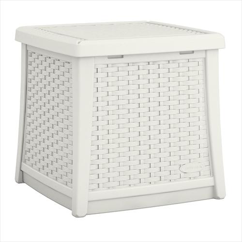 ラタン調テーブルボックス(S)【ホワイト】 ※北海道+500円
