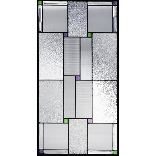 【送料無料】ステンドグラス (SH-A32) 913×480×18mm デザイン ピュアグラス 幾何学 Aサイズ (約13kg) メーカー在庫限り ※代引不可