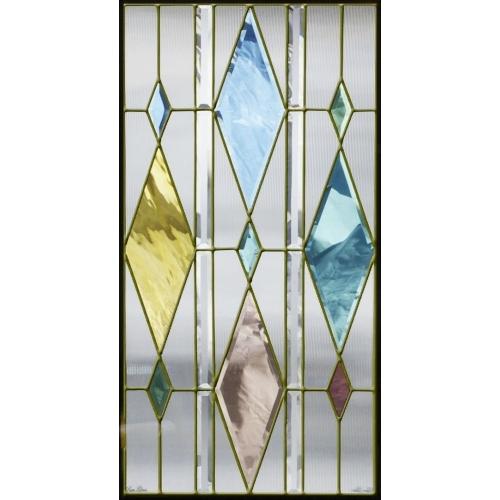 【送料無料】ステンドグラス (SH-A35) 913×480×18mm デザイン 幾何学 ピュアグラス Aサイズ (約13kg) 【メーカー在庫限り】 ※代引不可