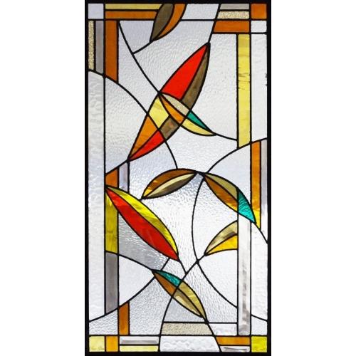 ステンドグラス (SH-A36) 一部鏡面ガラス 913×480×18mm デザイン ピュアグラス Aサイズ (約13kg) ※代引不可