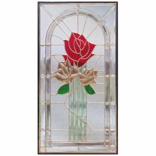 【送料無料】ステンドグラス (SH-A21N) 一部鏡面ガラス 913×480×18mm デザイン 薔薇 ローズ ピュアグラス Aサイズ (約13kg) ※代引不可