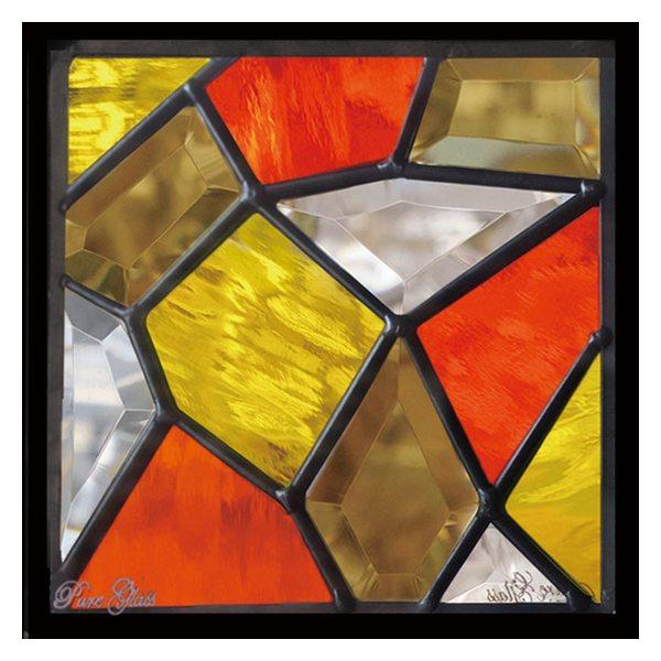 ステンドグラス (SH-D22) 一部鏡面ガラス 200×200×18mm デザイン モザイク ピュアグラス (約1kg) ※代引不可