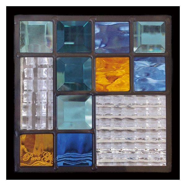 ステンドグラス Dサイズ モダン (約1kg) ピュアグラス (SH-D20) 200×200×18mm ※代引不可 デザイン