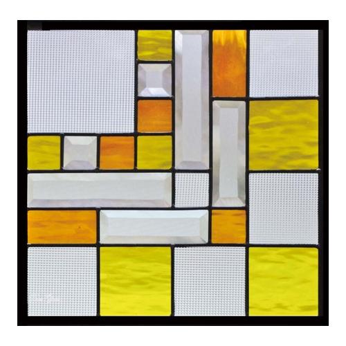 ステンドグラス (SH-F04) 400×400×18mm デザイン 幾何学 ピュアグラス Fサイズ (約4kg) ※代引不可 メーカー在庫限り
