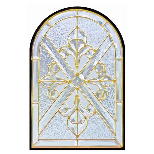 【送料無料】ステンドグラス (SH-K05) 495×330×18mm デザイン アンティーク クロス アーチ クリア ピュアグラス Kサイズ (約5kg) ※代引不可