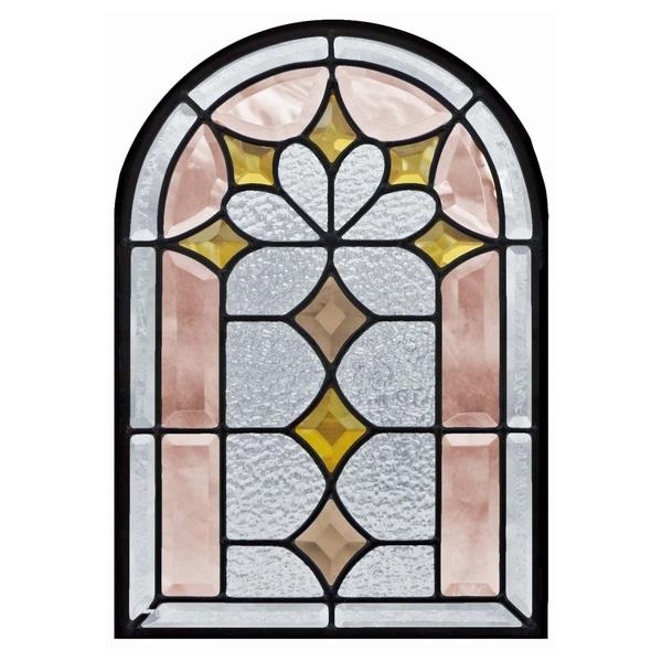 【送料無料】ステンドグラス 495×330×18mm (SH-K06) 一部鏡面ガラス アーチ ピュアグラス Kサイズ (約5kg) メーカー在庫限り ※代引不可