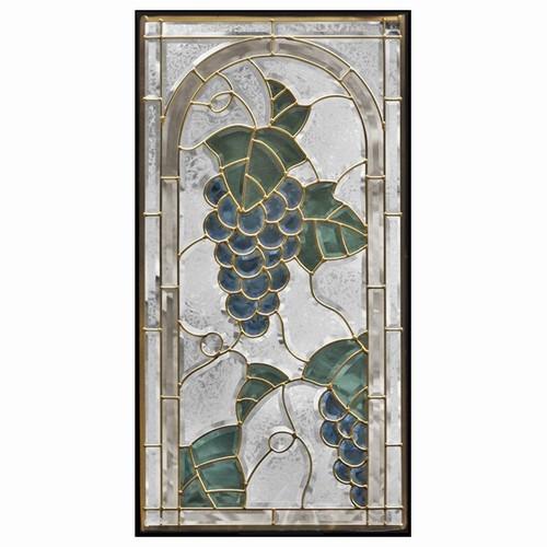 【送料無料】ステンドグラス (SH-A19) 一部鏡面ガラス 913×480×18mm デザイン 葡萄 ブドウ ピュアグラス Aサイズ (約13kg) ※代引不可