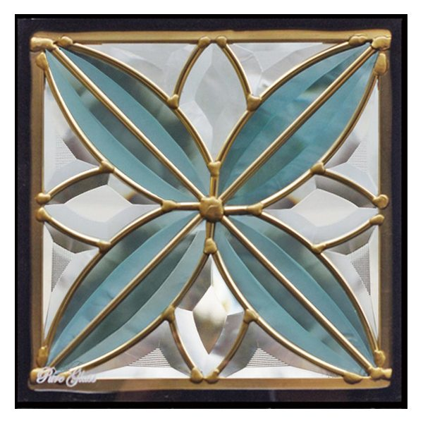 ステンドグラス (SH-D05) 一部鏡面ガラス 200×200×18mm デザイン ピュアグラス Dサイズ (約1kg) ※代引不可