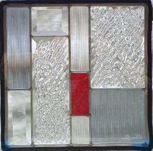 【送料無料】ステンドグラス (SH-E05) 300×300×18mm デザイン ピュアグラス Eサイズ 幾何学 (約3kg) メーカー在庫限り ※代引不可